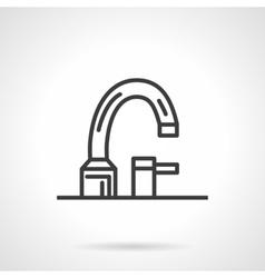Bathroom faucet black line design icon vector image