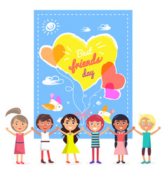 Best friends day banner and friendly children vector