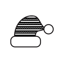Black And White Christmas Hat Icon vector image