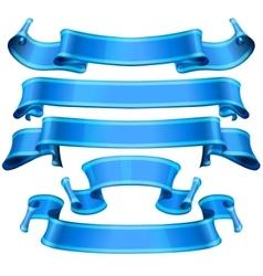 Blue Glossy ribbons set vector image