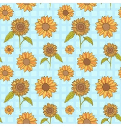 Bright sunflowers floral seamless vector image