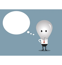 Bulb man with copy space in think bubble vector