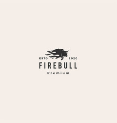 bull fire logo icon hipster vintage retro vector image