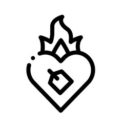 Burning heart icon outline vector