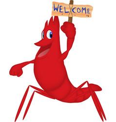 Cartoon a shrimp welcoming guests vector