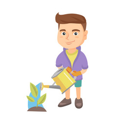caucasian boy watering plant with a watering can vector image