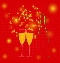 champagne bottle two glasses and sparkler vector image