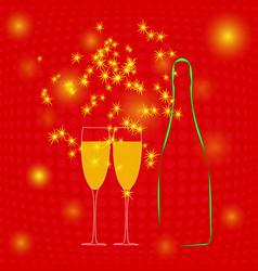 champagne bottle two glasses and sparkler vector image