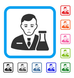 Chemistry man framed sadly icon vector
