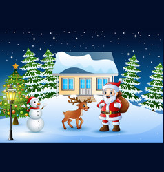 christmas background with santa claus and deer vector image