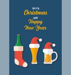 christmas beer ale mug with decoration vector image