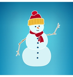 Christmas White Snowman on a Blue Background vector image