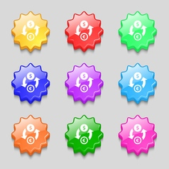 Currency exchange icon sign symbol on nine wavy vector image