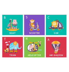 Cute alphabet with animals and transport in vector