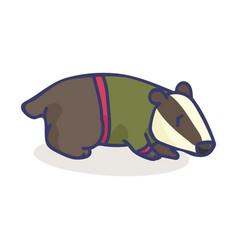Cute badger cartoon motif set vector