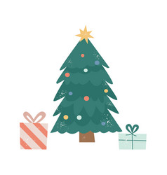 cute cartoon christmas tree with present boxes vector image