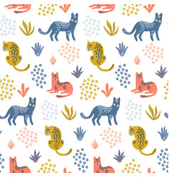 cute seamless pattern with colorful leopards vector image