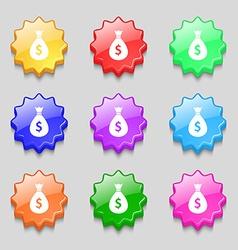 dollar money bag icon sign symbol on nine wavy vector image