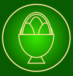 Eggs in a basket in a neon circle easter vector