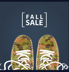 Fall sale banner with camo shoes on denim backdrop vector