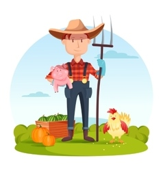 Farmer with pitchfork and pork vegetables hen vector