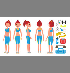 fitness girl different poses female vector image