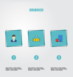 Flat icons buildings sold broker and other vector