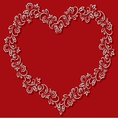 floral frame in the shape of hearts on a red vector image