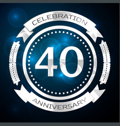 forty years anniversary celebration with silver vector image