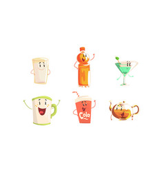 funny drinks cartoon characters collection tea vector image