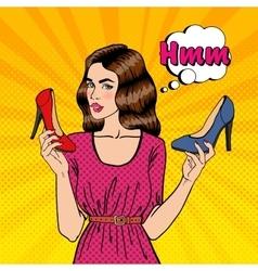 Girl Choosing Shoes Pop Art vector image vector image