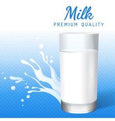 Glass of milk and milk splashes vector image