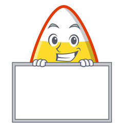 Grinning with board candy corn character cartoon vector