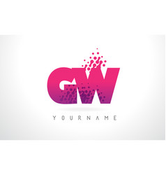 gw g w letter logo with pink purple color and vector image