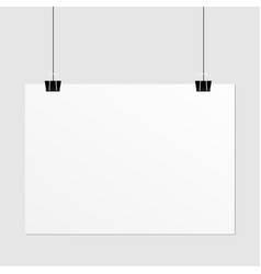 Hanging paper poster on wall poster vector