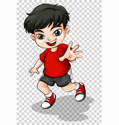 happy boy in red shirt vector image
