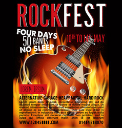 hard rock festival poster with guitar vector image
