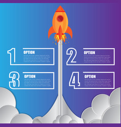 infographics design template rocket 4 options vector image
