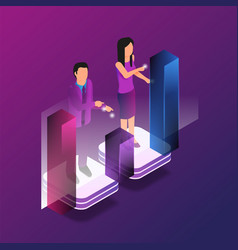 Isometric augmented reality for finance analytic vector