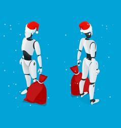 isometric christmas robot santa drone fast vector image