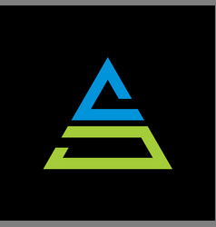 letter as triangle logo on black background vector image