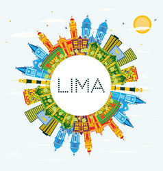 lima peru city skyline with color buildings blue vector image
