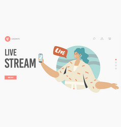 live stream landing page template woman with vector image