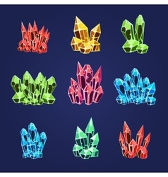 Magic Crystals Icons Set vector image