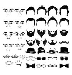 Male Faces Monochrome Constructor vector image