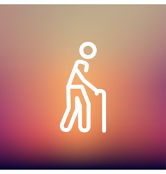 Man with Cane thin line icon vector