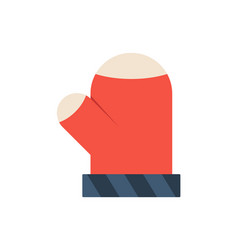 mittens flat icon flat christmas thumbs up glove vector image