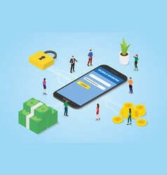 Mobile payment concept with smartphone money and vector
