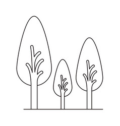 Monochrome silhouette of abstract trees set with vector