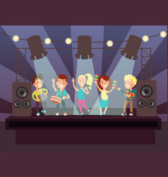 music show with kids band playing rock on stage vector image